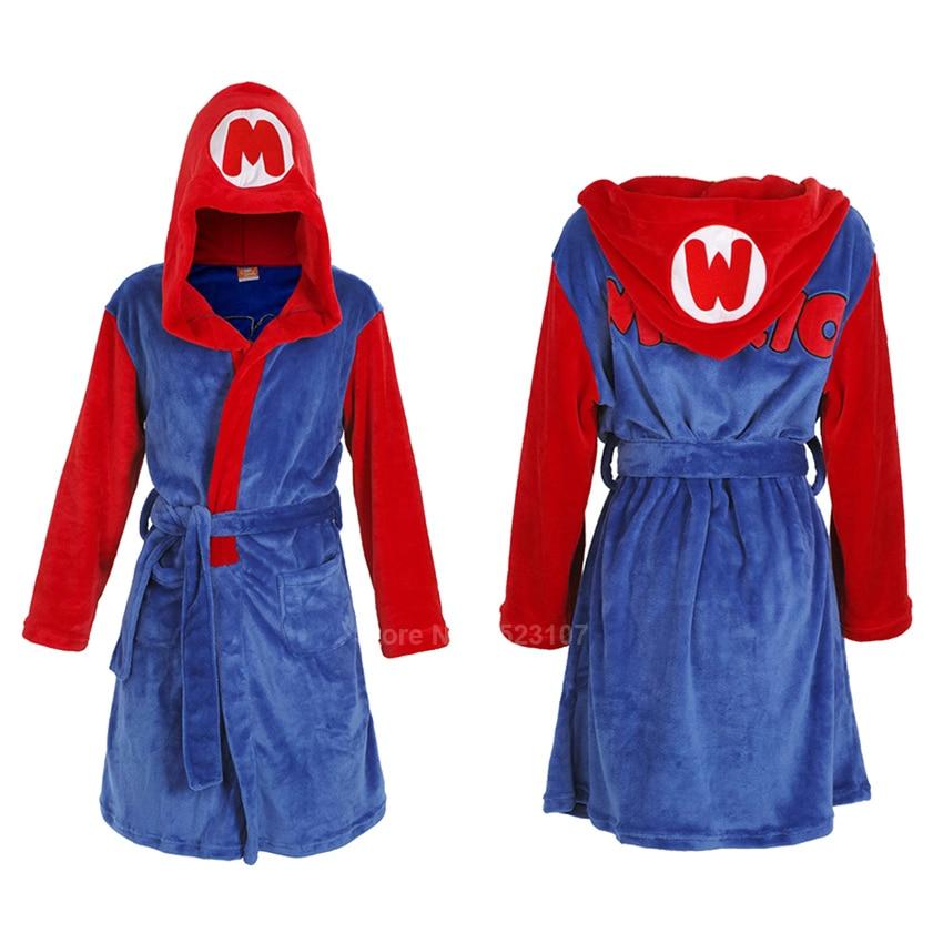 Men's Lounge Robe Flannel Winter Keep Warm Soft Bathrobe Hooded Novelty Super Mario Bros Cosplay Long Gown Sleepwear Pajamas