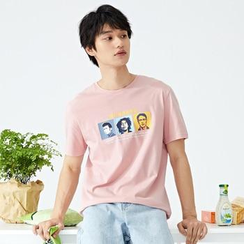 цены 2020 summer new round neck short sleeve Tshirt men hit color printing pullover tops fashion t shirt