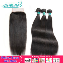 Mèches naturelles Remy lisses-Ali Grace Hair | 6x6 5x5, avec Closure(China)