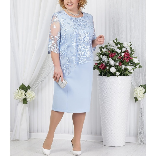Plus Size Mother Of The Bride Dresses Half Sleeve Formal Wedding Party Gown Lace Patchwork robe mere de la mariee 2019 Onepiece 1