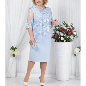 Plus Size Mother Of The Bride Dresses Half Sleeve Formal Wedding Party Gown Lace Patchwork robe mere de la mariee 2019 Onepiece(China)