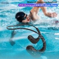 AIKSWE Schwimmen Kopfhörer Bluetooth Wireless Kopfhörer 8GB IPX8 Wasserdichte Ohrhörer MP3 Musik Player Sport Headset Für Xiaomi