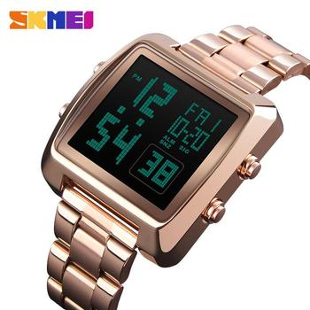 SKMEI Relogio feminino Digital Watches Women Men's Sport Electronic Luxury Fashion Stainless Steel Countdown LED Watch