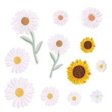 Тканевые наклейки с вышивкой в виде хризантемы и подсолнухов, наклейки с маленькими маргаритками, Ручная аппликация для книг, аксессуары дл...