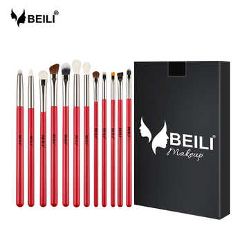 BEILI Professional Red 12PCS Makeup Brushes Natural Hair Foundation Eyebrow brush Eye shadow  Lip Brushes Eye Makeup Brush - DISCOUNT ITEM  57% OFF All Category