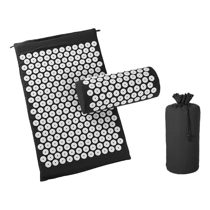 Black-Massage Acupressure Mat Relieve Back Body Pain Yoga Mat Bag