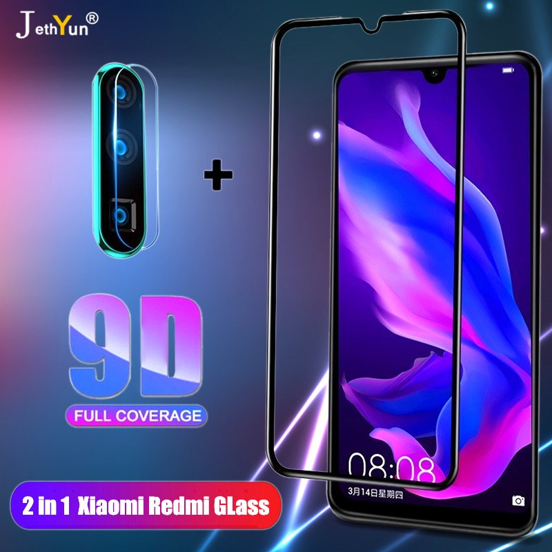 2in1 Full Cover 9D Tempered Glass For Xiaomi Redmi 7 8 7A 8A Redmi Note 7 8 9 pro 9S 8T Camare Protective Screen Protector Film(China)