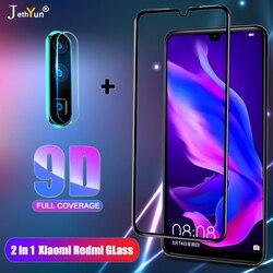 2in1 capa completa 9d vidro temperado para xiaomi redmi 7 8 7a 8a redmi nota 7 8 9 pro 9s 8t camare película protetora de tela