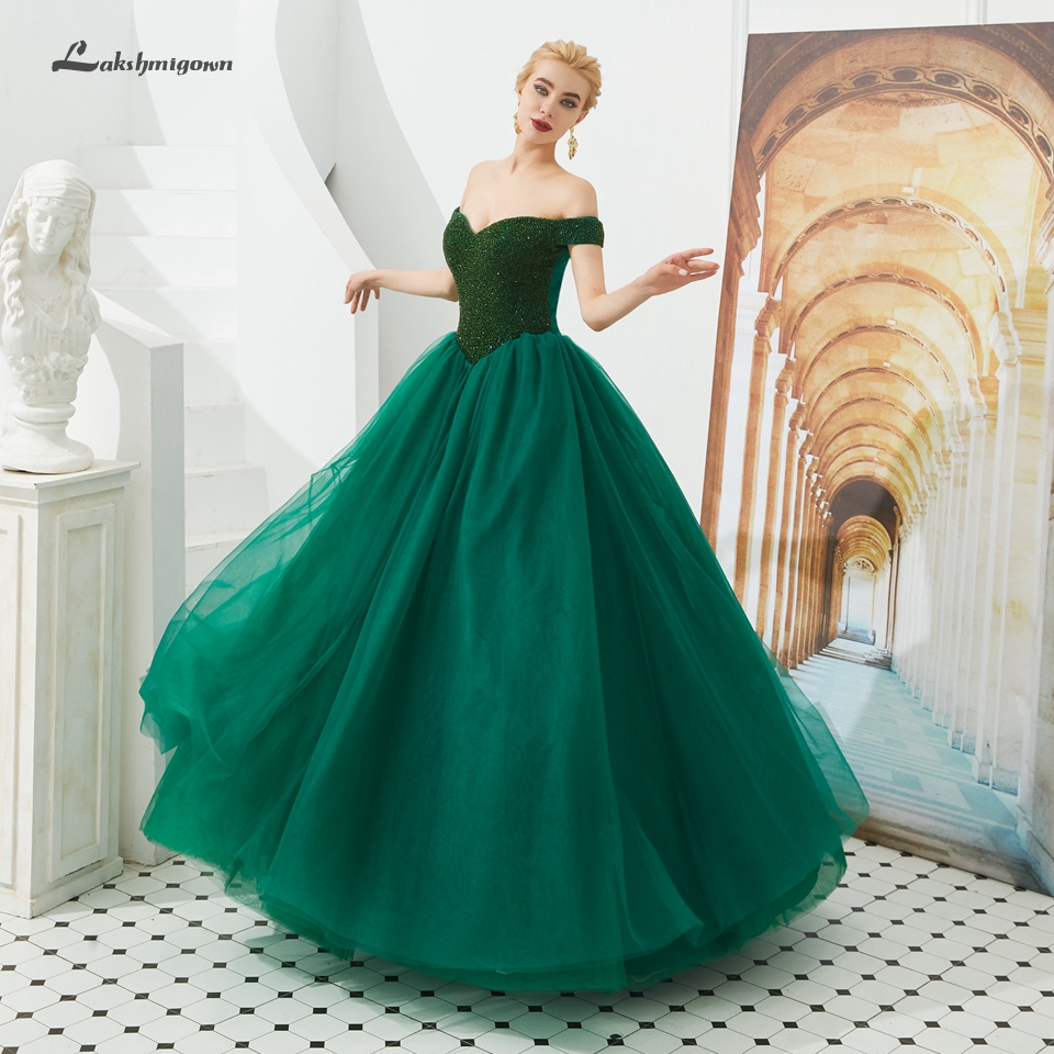 Lakshmigown Sparkly Emerald Green   Dress   Party Evening Gowns Off Shoulder Beading Plus Size Purple   Prom     Dresses   Vestido Gala 2019