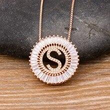 Wysokiej jakości kobiety początkowe 26 liter naszyjnik wisiorek z różowego złota urok wesele miedzi CZ biżuteria osobisty naszyjnik prezent