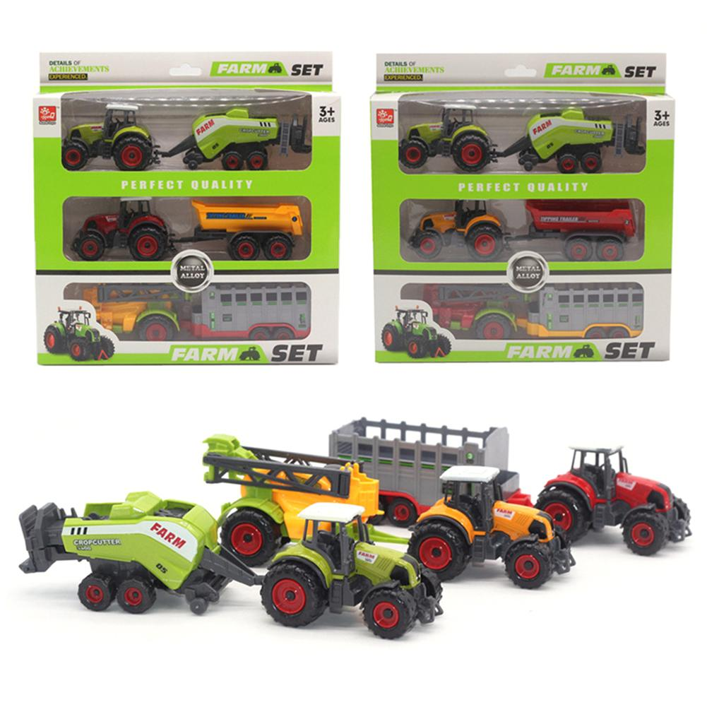 Mini Diecas Farm Tractor Vehicle Car Carriage Model Set Collection Kid Toy Car Toy Desktop Decoration Miniature Size Collect Toy