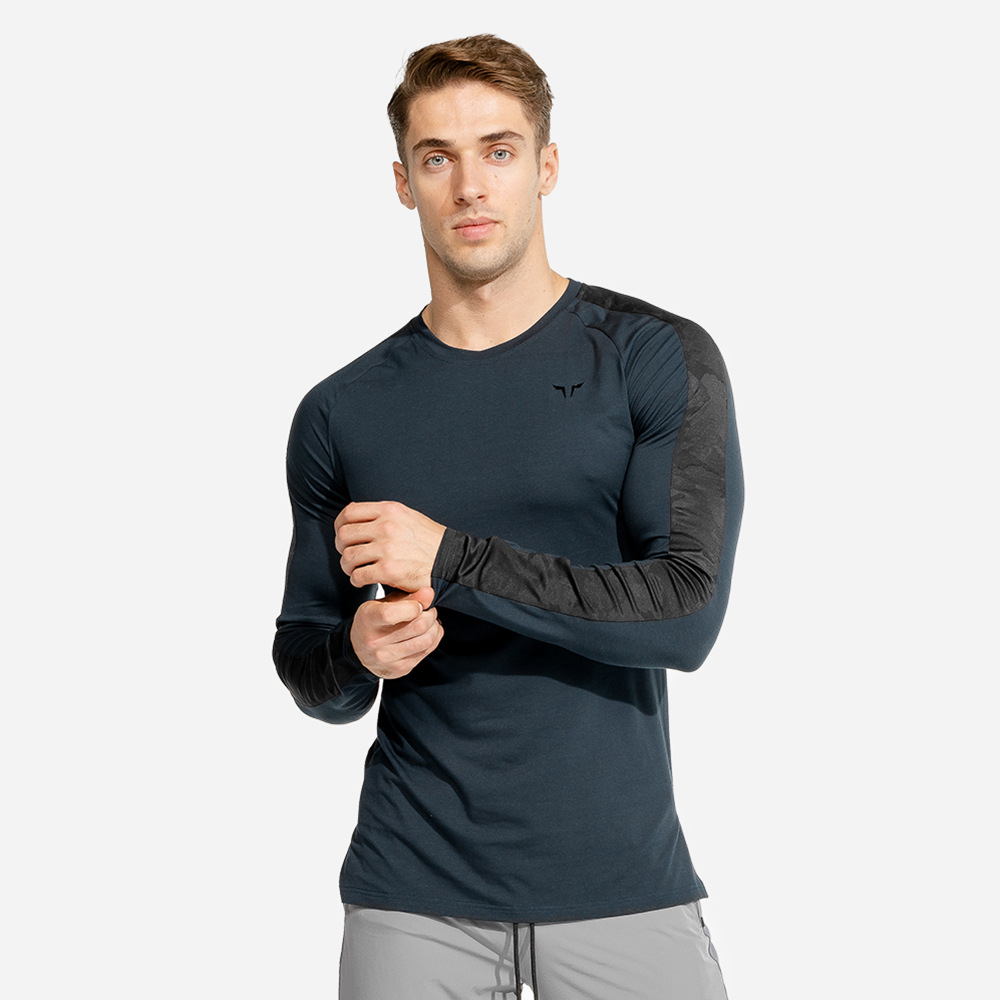 Casual Long Sleeve T Shirt Men Gym Quick Dry Skinny T-Shirt Male Fitness Workout Tee Shirt Tops New Running Sport Brand Clothing