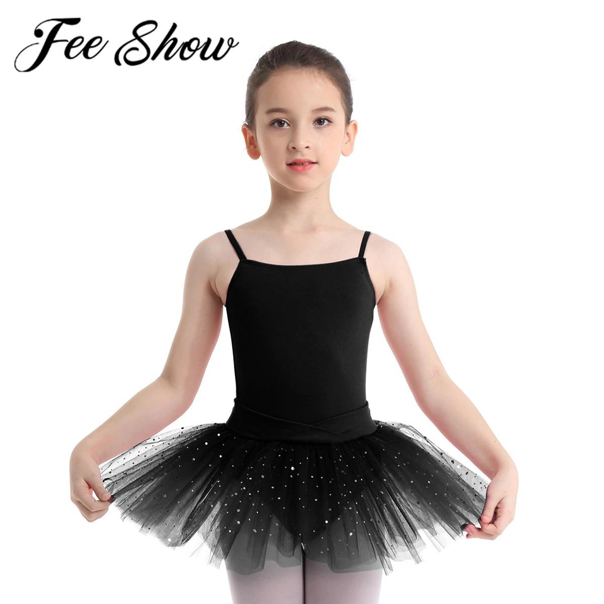 Girls Ballet Dance Leotard Dress Kids Gym Camisole Top Skirt Lyrical Dancewear