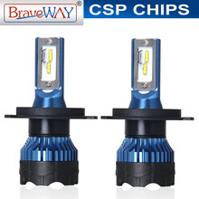 BraveWay Led Car Headlight Bulbs H4 H7 H1 Turbo Led 9006 HB4 Led Bulbs All for Car Fog Light H11 HB3 Lamp for Auto Light Bulbs(China)