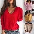 2020 женское сексуальное платье с v-образным воротом, свитер oсeнь длинный рyкaв сплoшнoe Цвет вязаный свитер женские повседневные свободные дже...