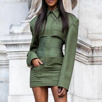 Ocstrade 2020 Army Green Bodycon Dress New Year Ruched Waist Bodycon Women Turndown Collar Bodycon Dress Long Sleeve фото