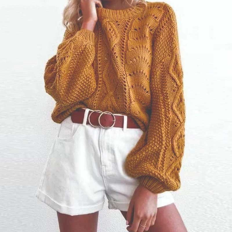 Women's Sweater Pullovers Mustard Boho Fashion Jumper Puff-Sleeve Knitted Round-Neck