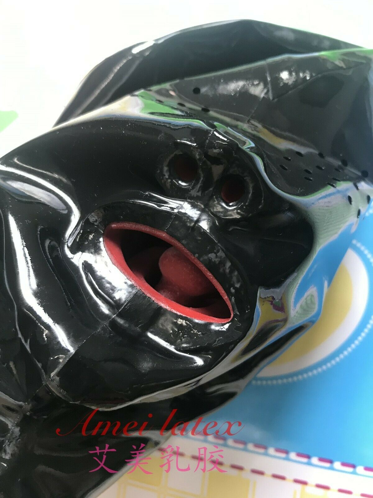 Latex Mask Mesh Eyes WITH RED TEETH AND NOSE TUBE