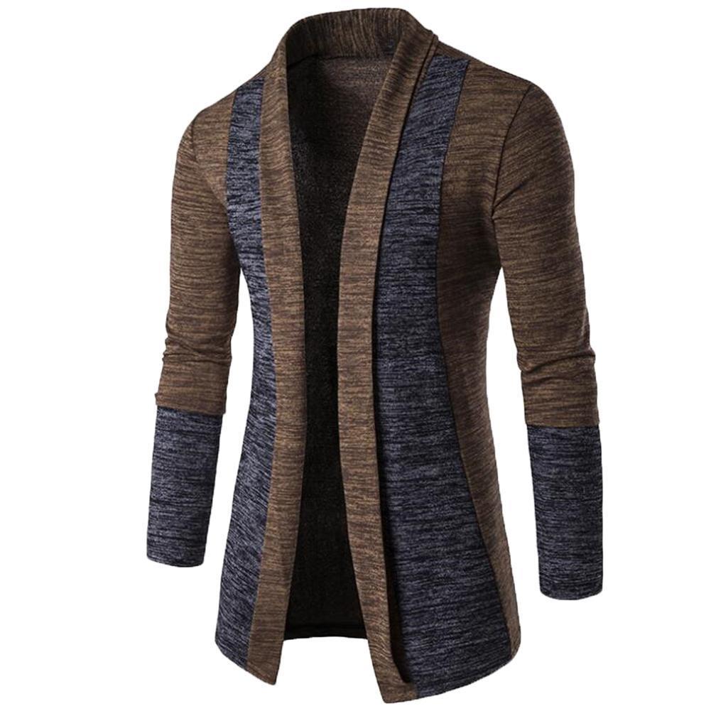 Retro Men Patchwork Long Sleeve  Knitted Sweater Cardigan Coat Outwear мужская куртка