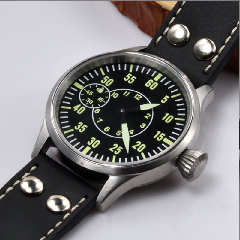 Mens Watch Hand Winding 43mm Black Sterile Dial 316 SS Case Luxury 17 Jewels 6497 Sapphire Crystal Mechanical Wristwatches