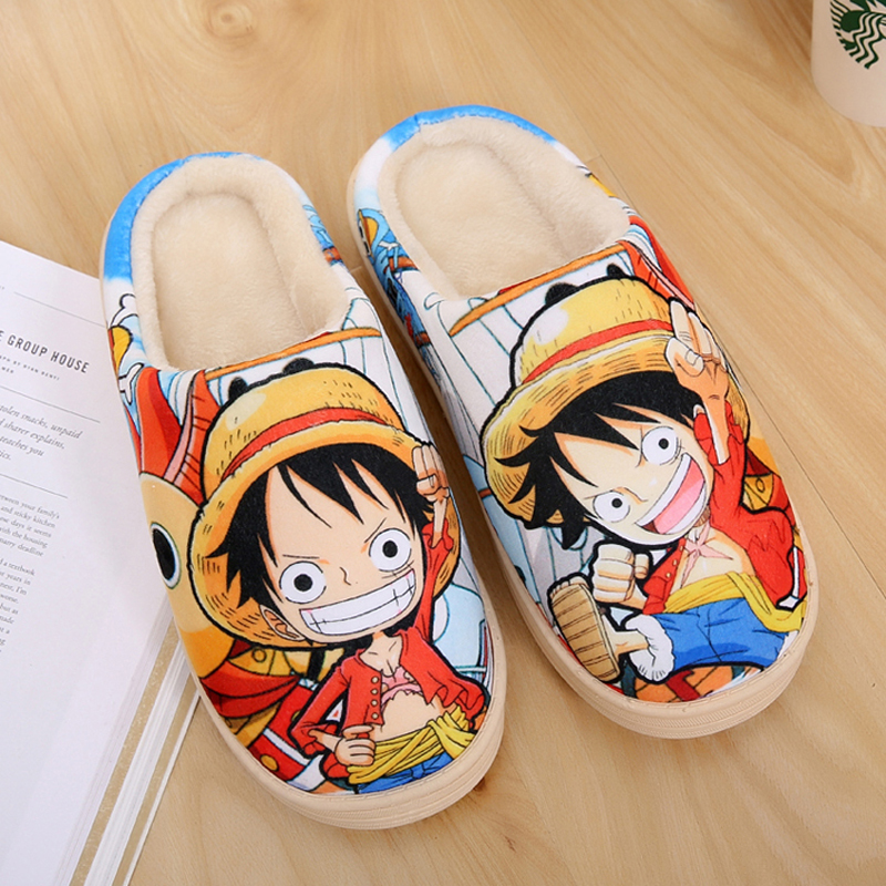 Japanese Cosplay ONE PIECE Anime Shoes Monkey D. Luffy Tony Chopper Winter Warm Soft Plush Antiskid Indoor Home Kawaii Slippers