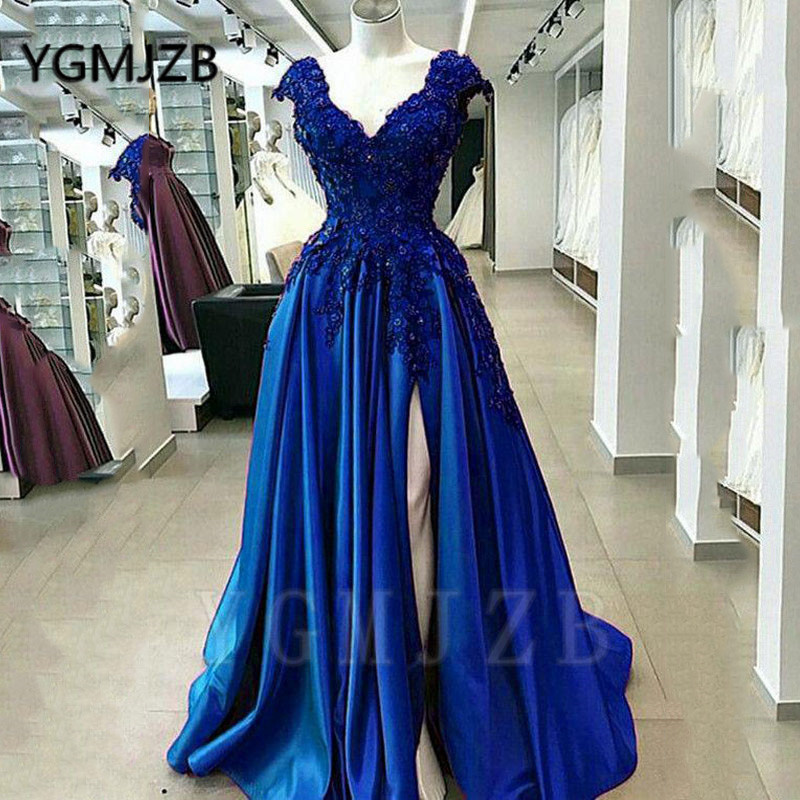 Sexy púrpura con cuentas de encaje vestidos de graduación 2020 una línea de cuello en V manga de tapa de alta hendidura Formal vestidos de noche azules vestido de fiesta - 3