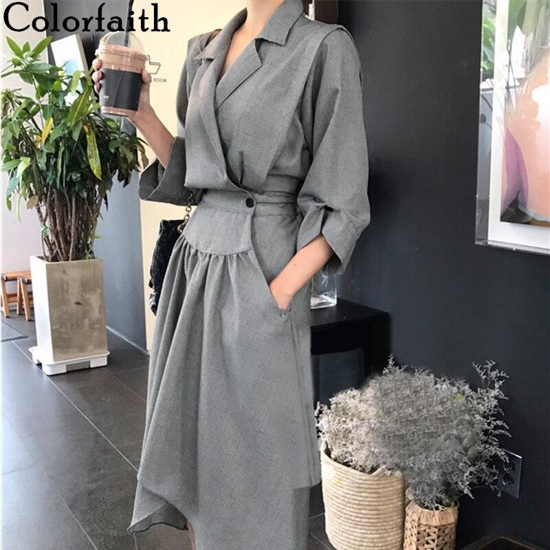 Colorfaith New 2020 Spring Fall Women Dresses Casual Fashionable Notched High Waist Fold Irregular Three Quarter Dress DR0787