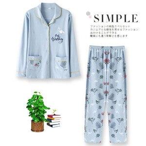 Image 3 - 2020 Nieuwe Vrouwen Pyjama Sets 100% Katoen Lange Mouwen Herfst Lente Nachtkleding Leuke Dames Meisje Pijamas Mujer Volwassen Thuis Kleren