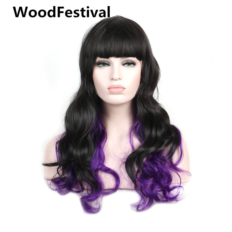 WoodFestival Multicolor Black Mix Purple Long Wavy Synthetic Wigs For Women Heat Resistant Cosplay Wig With Bangs