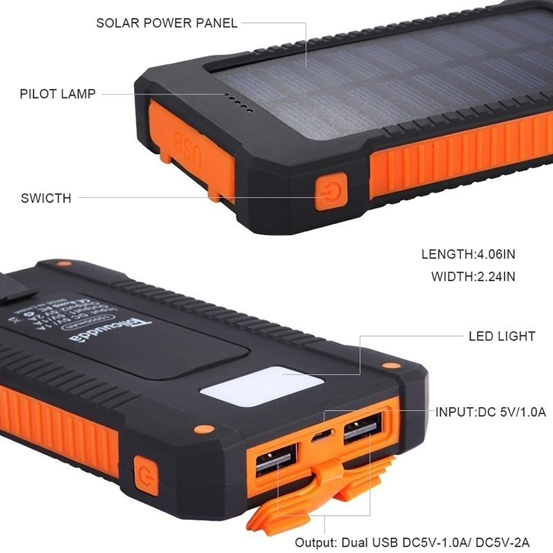 Solar Power Bank Waterproof 10000mAh Solar Charger 2 USB Ports External Charger Mini Powerbank for Xiaomi IPhone X Battery Pack in Power Bank from Cellphones Telecommunications