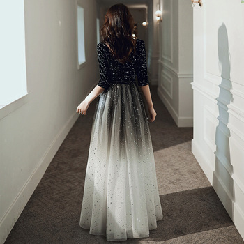Fashion Evening Dresses Long Simple A-Line V Neck Half Sleeve Tulle Elegant Formal Party Dresses with Sashes Real Photo 2