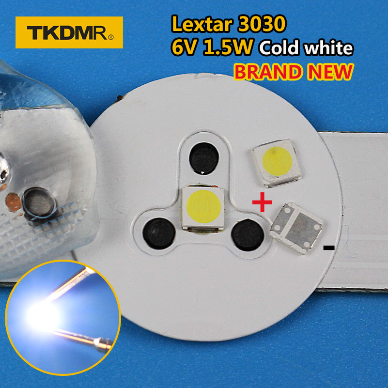 TKDMR 50pcs Lextar LED Backlight High Power LED 1.8W 3030 6V Cool White 150-187LM PT30W45 V1 TV Application 3030 Smd Led Diode