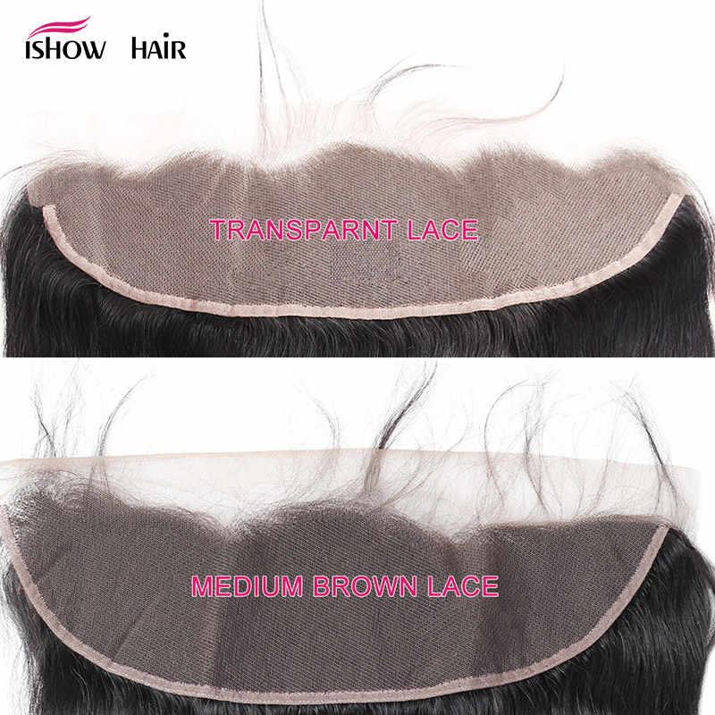 Ishow frontal transparente do laço com pacotes da onda do corpo com fechamento frontal malaio feixes de cabelo humano com frontal