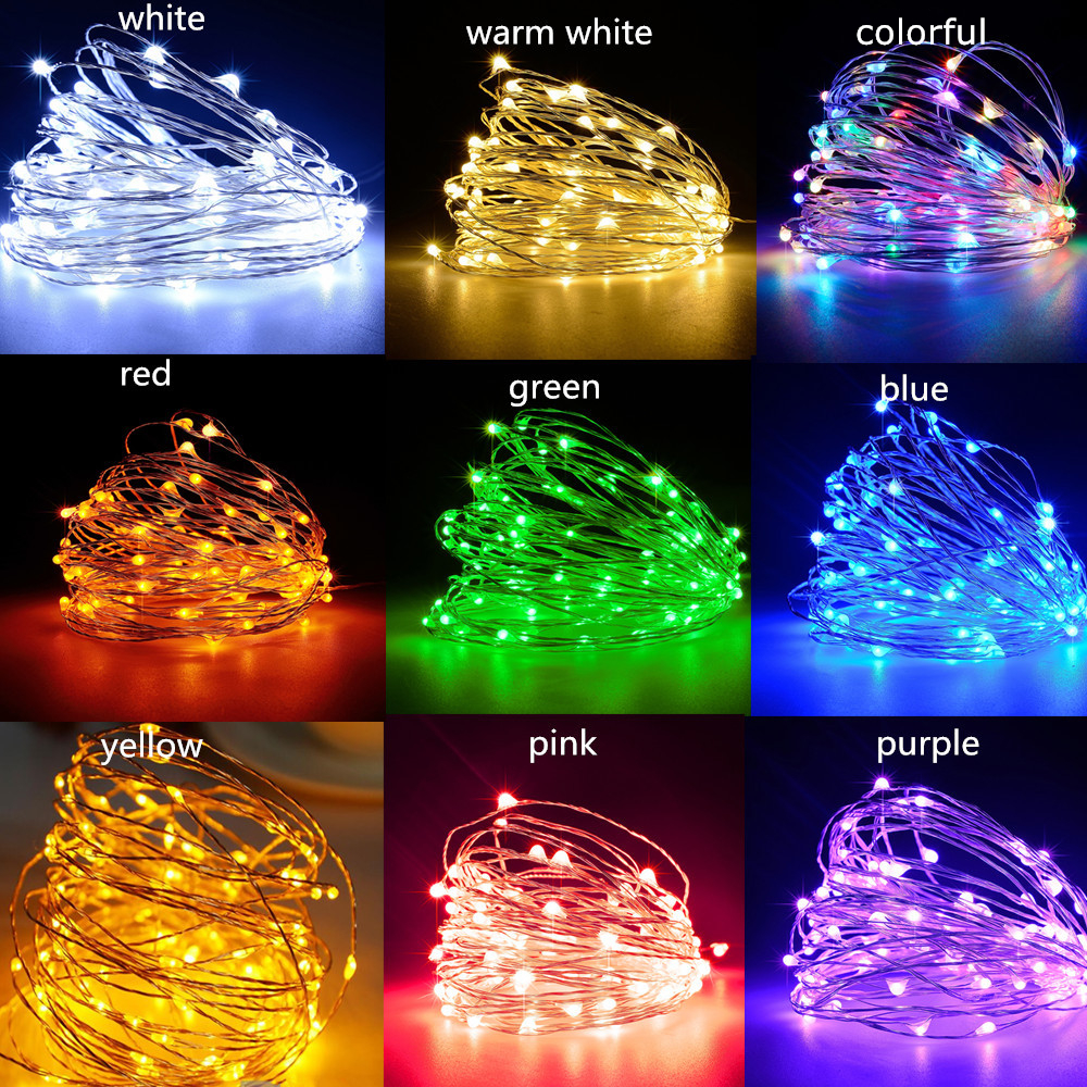 LED String Light Silver Wire Fairy Warm White Garland Home Birthday Wedding Party Curtain Decoration Holiday Christmas Lights 3M