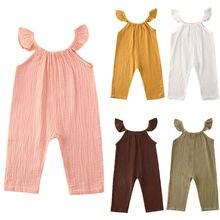 От 6 месяцев до 3 лет; летняя одежда для новорожденных девочек; комбинезон без рукавов с рюшами; хлопковый повседневный комбинезон; комбинезоны; пляжный костюм