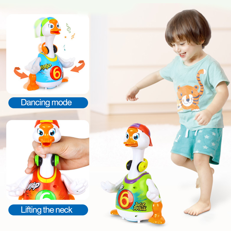 Smart Dancing Goose Electronic Walking Toys With Music & Light Learning Educational Toys For Children 18 Month+