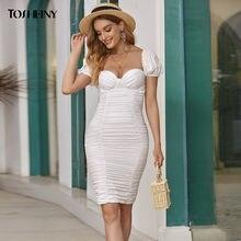 Женское сексуальное мини платье tosheiny модное белое Бандажное