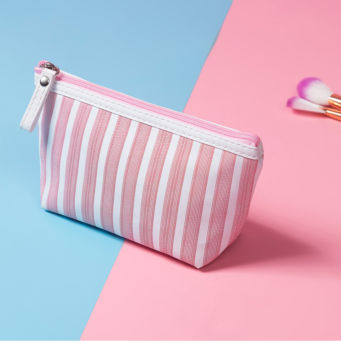 2019 New Striped Women Cosmetic Bag Pillow Multifunction Travel Make Up Bags Girls Zipper Makeup Case Pouch Pencil Case