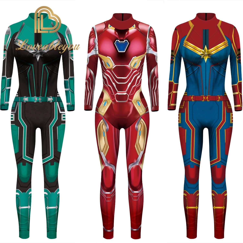 New Arrival Girls Captain Marvel Cosplay Costume Iron Man Superhero Carol Danvers Bodysuit Jumpsuit Halloween Kids