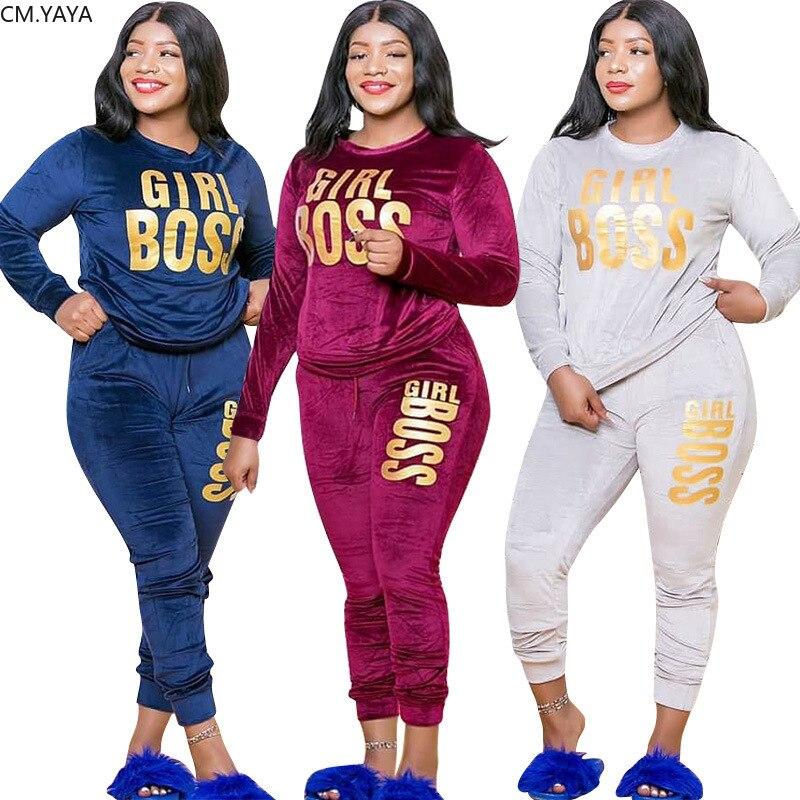 CM YAYA de talla grande XL-5XL carta impresión terciopelo de las mujeres conjunto de Top sudadera pantalones traje de chándal de dos piezas conjunto Fitness traje