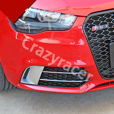 Rs1 Style Black Front Fog Light Grille Cover Trim For Audi A1 Non