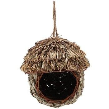 Nido de Pájaro hecho a mano de paja tejida pájaro jaula de loro anidación colgando de la cría cueva Hatching House Hut para perikeet Hamster Gerbil Chi