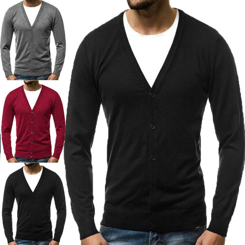 2019 New Men's Knitted V-Neck Knitwear Coat Outwear Cardigan Jacket Pullover Sweater Top Casual Men's Cardigan Sweater