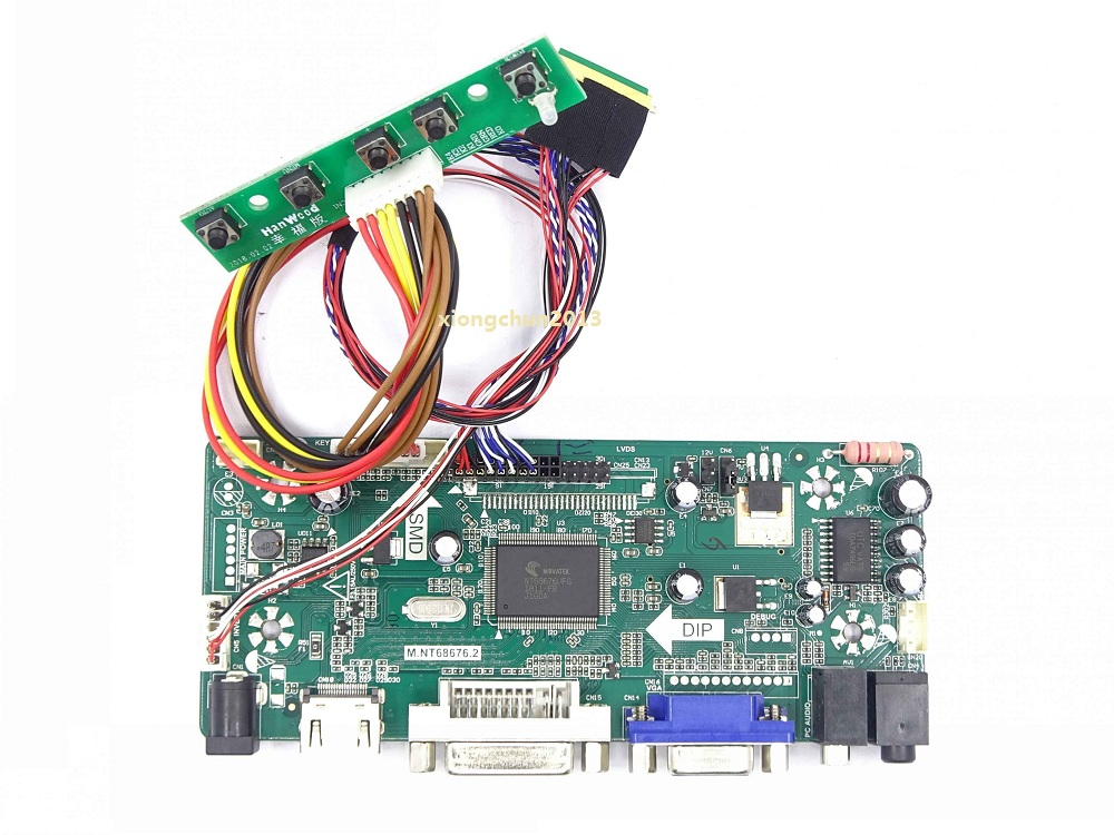 HDMI+DVI+VGA+Audio LCD Controller Driver Board Kit for Panel 1024X600 PQ3QI-01