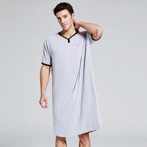 2020 Мужская одежда для сна, длинная ночная рубашка с коротким рукавом, ночная рубашка, мягкая удобная свободная рубашка для сна, Мужская дома...
