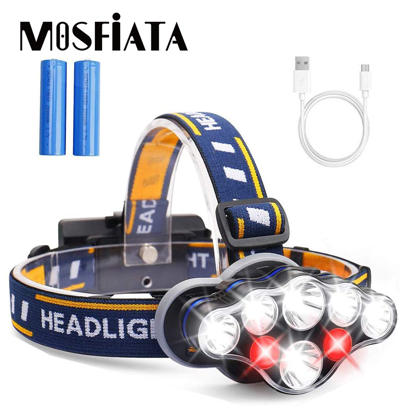 MOSFiATA LED Headlamp 8 LED 8 Modes Headlight 18650 Battery USB Rechargeable Waterproof Flashlight Head Lamp For Camping Gear