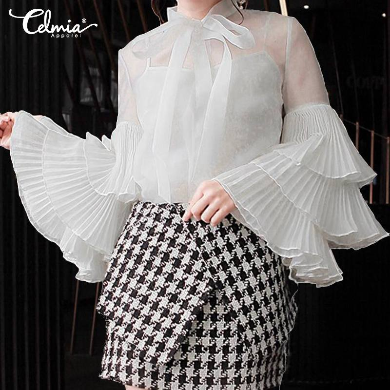 2019 Celmia Stylish Women Blouses Ladies See Through Sexy Shirts Long Sleeve Ruffles Top Plus Size Casual Loose Bow Blusas Mujer
