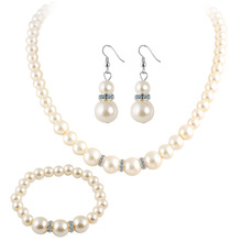Europe and America artificial pearl crystal necklace earrings bracelet set women's fashion classic bride accessories faux pearl bridal necklace earrings and bracelet
