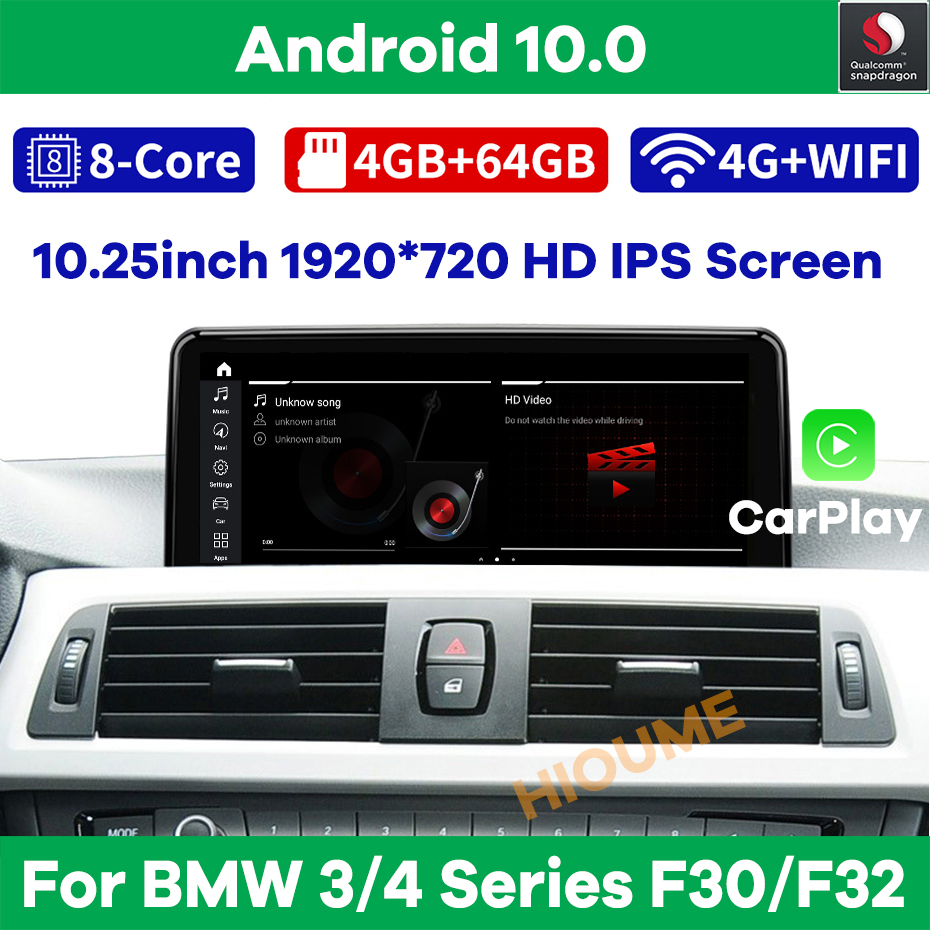 Snapdragon Android 10.0 Car Multimedia Player GPS Navigation for BMW F30 F31 F34 F32 F33 F36 2013-2017 NBT with BT Wi-Fi Carplay
