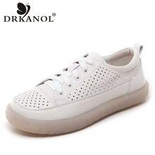 DRKANOL 2021 Frauen Flache Schuhe Sommer Atmungs Ausschnitt Casual Schuhe Damen Weiche Unterseite Echtes Leder Wohnungen Weiß Schuhe Frau